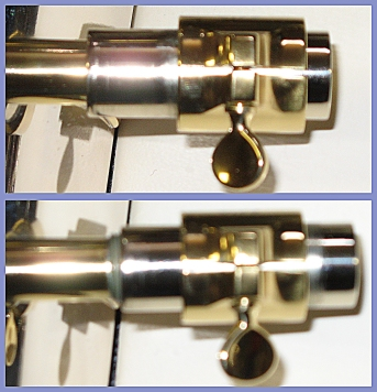 Photo of adjusstable-gap receiver on the Adams Custom euphonium